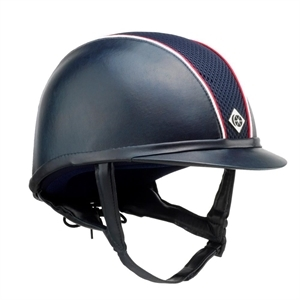 CHARLES OWEN AYR8 LEATHER LOOK WITH PIPING-helmets & hairnets-Spurs